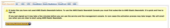 Amazon AWS Elastic Beanstalk first time use