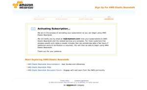 AWS Elastic Beanstalk subscription activation