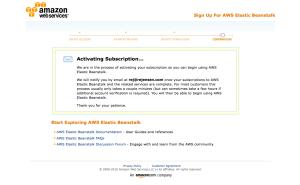 AWS Elastic Beanstalk subscription activation